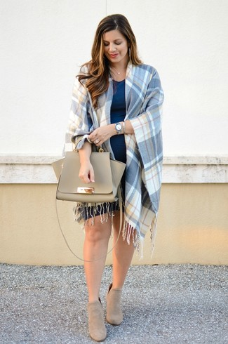 How to wear: blue plaid cape coat, navy casual dress, beige suede ankle boots, beige leather satchel bag