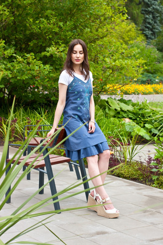Women's Blue Embroidered Casual Dress, White Crew-neck T-shirt, White Leather Wedge Sandals, White Bracelet
