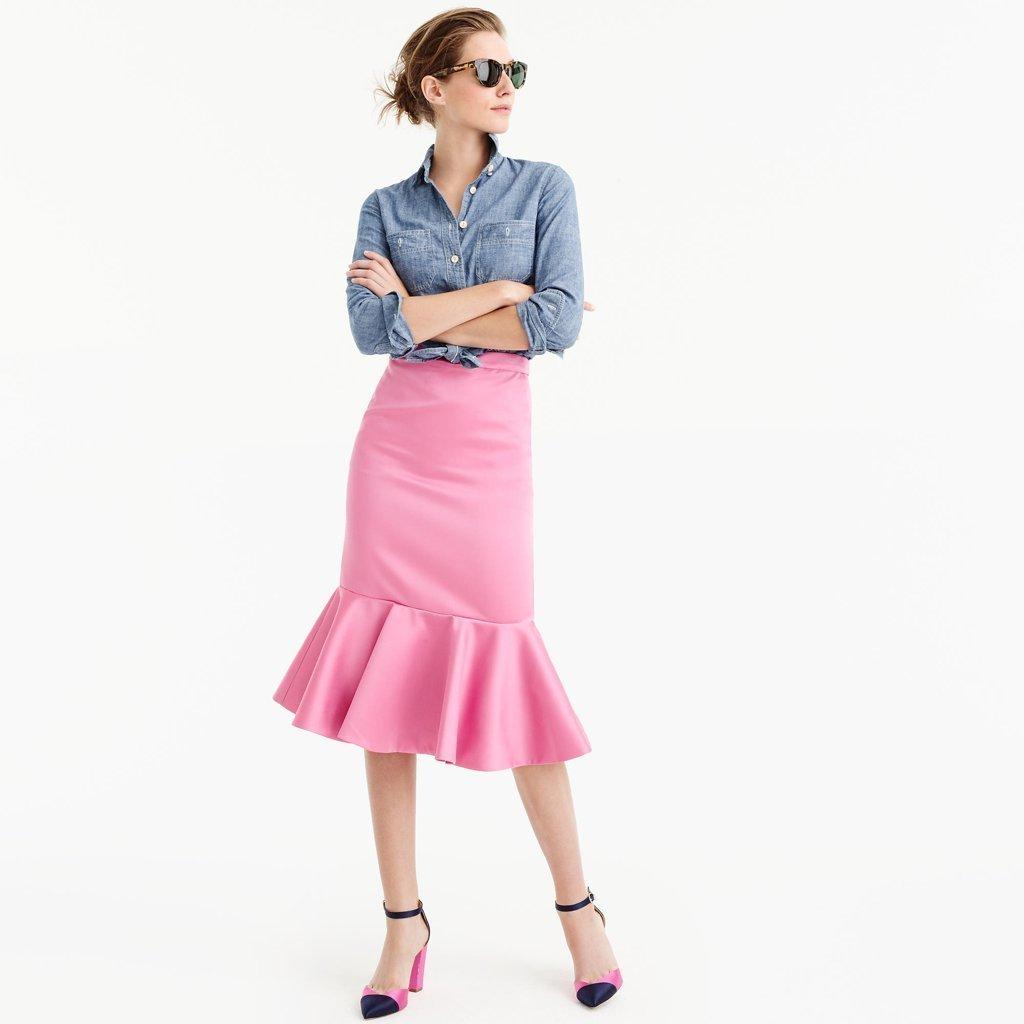 00ff547c2a How to wear: blue chambray dress shirt, pink peplum skirt, navy satin pumps