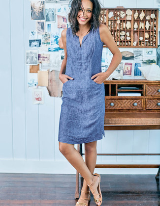 How to wear: blue chambray shift dress, tan leather gladiator sandals