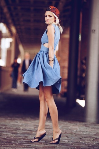 How to wear: blue chambray skater dress, black thong sandals, red print cap