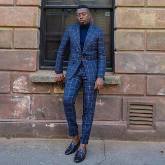 Men\u0027s Blue Check Suit, Navy Turtleneck, Black Leather