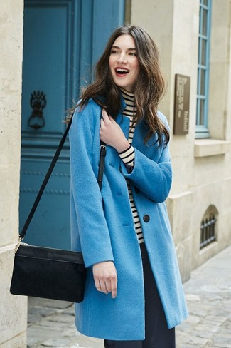 How to wear: blue coat, white and black horizontal striped turtleneck, black wide leg pants, black suede crossbody bag
