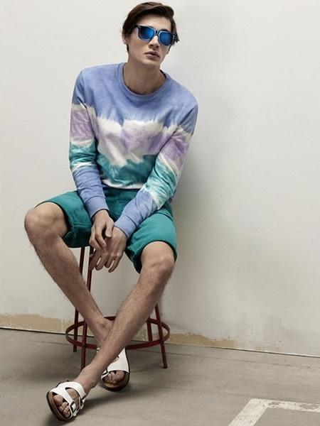 Men's Blue Acid Crew-neck Sweater, Teal Shorts, White ...