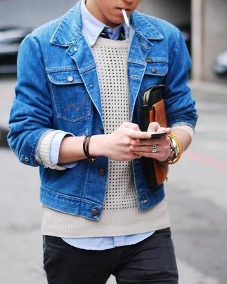 Men's Blue Denim Jacket, Beige Crew-neck Sweater, Light Blue Dress ...