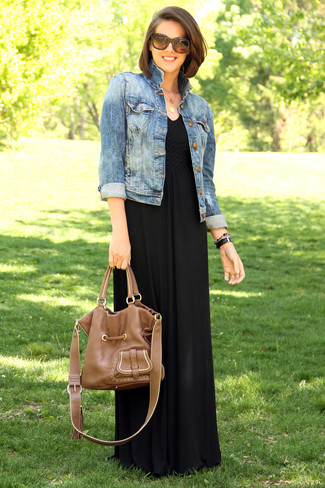 357ecdac2 ... Women's Blue Denim Jacket, Black Maxi Dress, Brown Leather Tote Bag