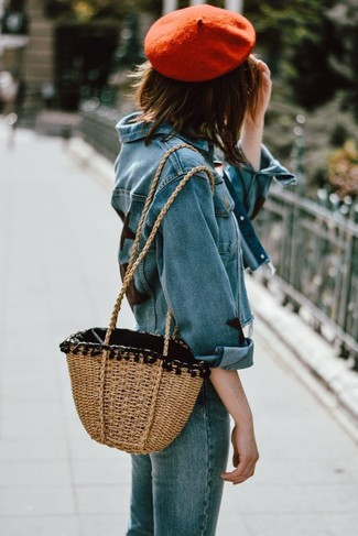 How to wear: blue denim jacket, blue jeans, tan straw tote bag, red beret