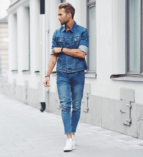 How To Wear Blue Jeans With a Blue Denim Jacket | Men's Fashion