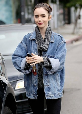 How to wear: blue denim jacket, charcoal cowl-neck sweater, black skinny jeans