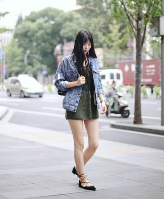 How to Wear an Olive Sweater Dress Casually: For a safe laid-back option, you can rely on this combo of an olive sweater dress and a blue denim jacket. Black suede ballerina shoes are sure to leave the kind of impression you want to give.