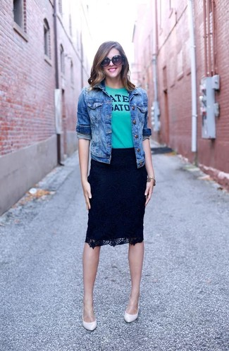 Black and White Lace Pencil Skirt Outfits: If you're planning for a sartorial situation where comfort is the priority, rock a blue denim jacket with a black and white lace pencil skirt. In the shoe department, go for something on the classier end of the spectrum by wearing a pair of white leather pumps.