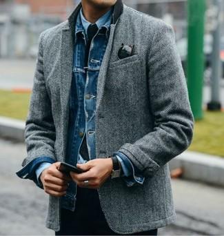 How to wear: blue denim jacket, grey herringbone wool blazer, light blue dress shirt, navy knit tie