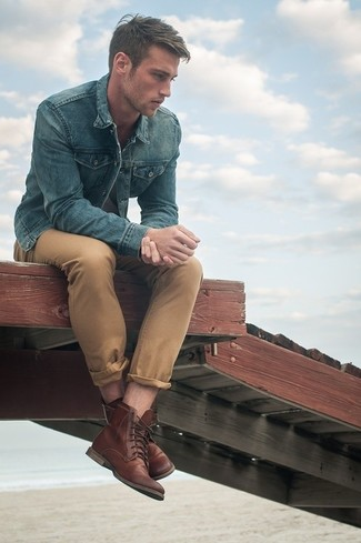 How To Wear Khaki Chinos With Brown Boots | Men&39s Fashion