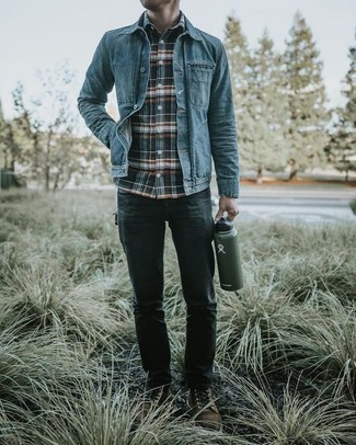 Charcoal Jeans Outfits For Men: Fashionable and functional, this relaxed casual pairing of a blue denim jacket and charcoal jeans will provide you with excellent styling opportunities. Dial up your outfit by wearing dark brown suede casual boots.