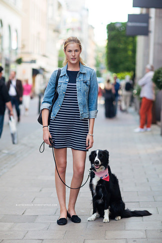 Women's Blue Denim Jacket, Navy and White Horizontal Striped Tank Dress, Black Suede Loafers, Black Leather Tote Bag