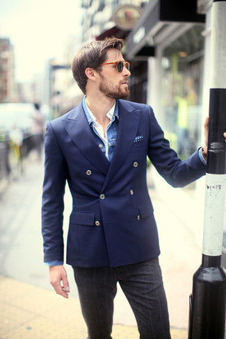 How to wear: blue denim jacket, navy double breasted blazer, white long sleeve shirt, charcoal plaid wool dress pants