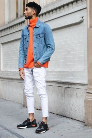 How to wear: blue denim jacket, orange turtleneck, white skinny jeans, charcoal athletic shoes