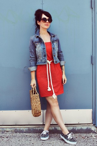 Red Casual Dress Outfits: If you enjoy practical getups, pair a red casual dress with a blue denim jacket. The whole ensemble comes together brilliantly if you introduce a pair of black and white canvas low top sneakers to the equation.