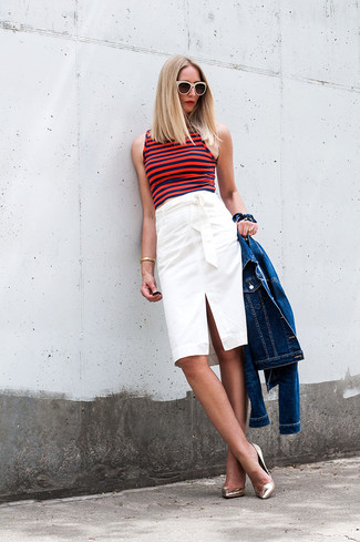 How to wear: blue denim jacket, red horizontal striped cropped top, white pencil skirt, gold leather pumps