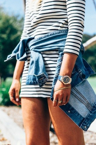 How to wear: blue denim jacket, white and black horizontal striped casual dress, blue leather watch