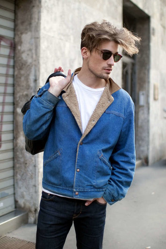 Men's Blue Denim Jacket, White Crew-neck T-shirt, Navy Jeans ...