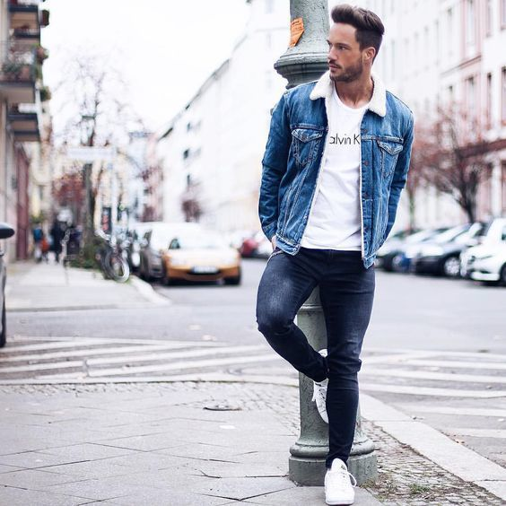 Men's Blue Denim Jacket, White Crew-neck T-shirt, Navy Skinny ...