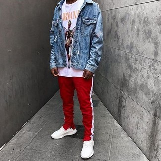 How to wear: blue denim jacket, white print crew-neck t-shirt, red and white vertical striped sweatpants, white athletic shoes