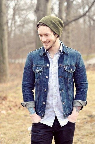 How to wear: blue denim jacket, white vertical striped long sleeve shirt, black jeans, olive beanie