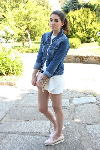 How to wear: blue denim jacket, white playsuit, beige leather loafers, beige leather clutch