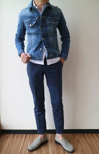 How to wear: blue denim jacket, white short sleeve shirt, navy dress pants, grey suede loafers