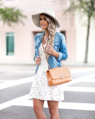Women's Blue Denim Jacket, White Floral Skater Dress, Tan Quilted Leather Crossbody Bag, White Wool Hat