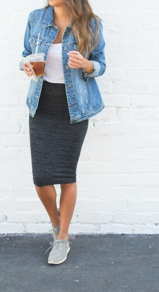 How to wear: blue denim jacket, white tank, charcoal pencil skirt, grey athletic shoes