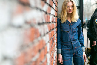 Denim Button Through Wide Leg Jumpsuit