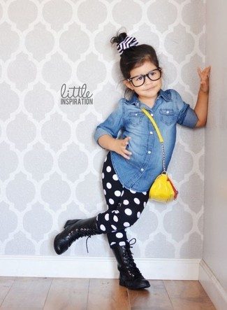 How to wear: blue denim long sleeve shirt, black polka dot leggings, black boots
