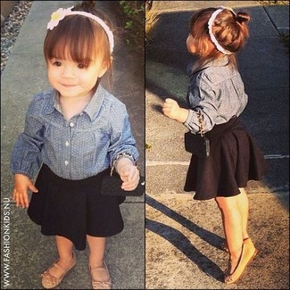 How to wear: blue denim long sleeve shirt, black skirt, tan ballet flats