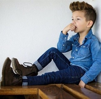 How to Wear a Blue Long Sleeve Shirt For Boys: Choose a blue long sleeve shirt and navy jeans for your munchkin for a dapper casual get-up. As far as footwear is concerned, let your boy opt for a pair of dark brown boots.