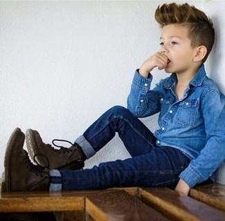How to wear: blue denim long sleeve shirt, navy jeans, dark brown boots