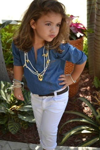 How to wear: blue denim long sleeve shirt, white jeans