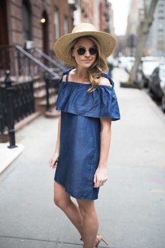Women's Blue Denim Off Shoulder Dress, Khaki Straw Hat