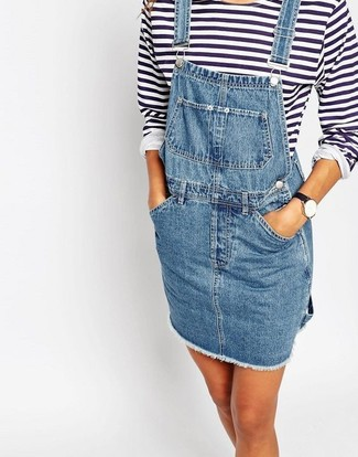 How to wear: blue denim overall dress, white and navy horizontal striped long sleeve t-shirt