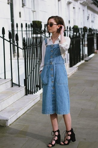 How to wear: blue denim overall dress, white dress shirt, black suede heeled sandals