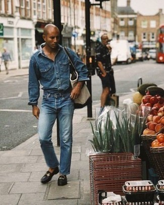 Blue Denim Shirt Outfits For Men: This laid-back combination of a blue denim shirt and blue jeans is extremely easy to put together without a second thought, helping you look awesome and prepared for anything without spending a ton of time combing through your wardrobe. Not sure how to round off this look? Wear black leather loafers to ramp it up a notch.