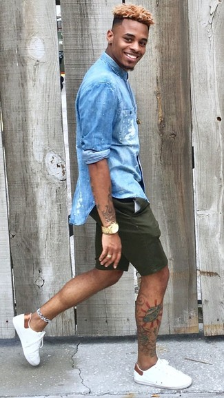 Men's Blue Denim Shirt, Dark Green Shorts, White Leather Low Top ...