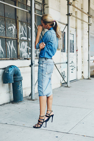 Women's Blue Denim Shirt, Light Blue Denim Pencil Skirt, Navy Gladiator Sandals