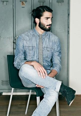 9dc3dc3e0f How to wear AllSaints Laggan Denim Shirt