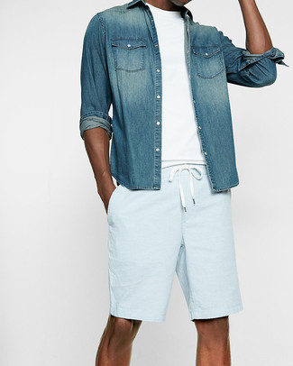 How to wear: blue denim shirt, white crew-neck t-shirt, light blue shorts