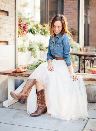 How to wear: blue denim shirt, white tulle maxi skirt, brown leather cowboy boots, brown leather belt
