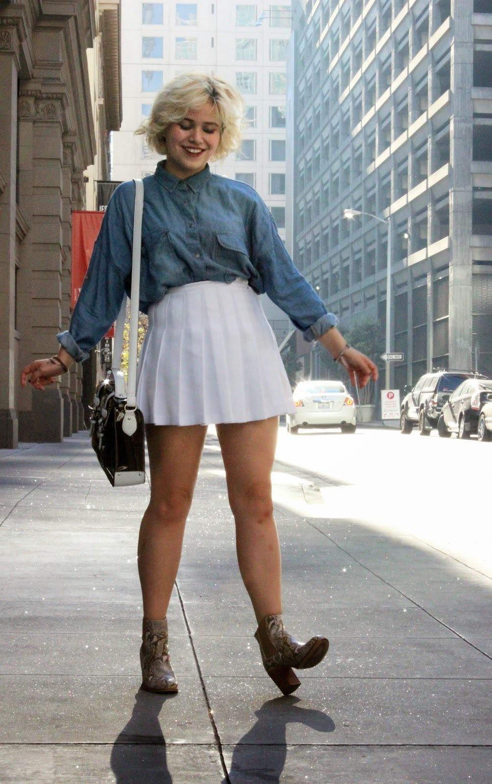 Pics For Denim Shirt With White Skirt