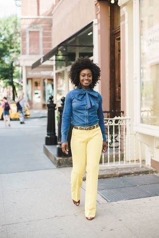 How to wear: blue denim shirt, yellow dress pants, tobacco leather wedge sandals, tan leopard suede belt