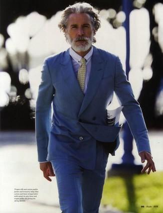 Blue double breasted blazer light blue dress shirt blue dress pants yellow tie large 2176